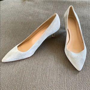 J crew grey dulci kitten heels in suede